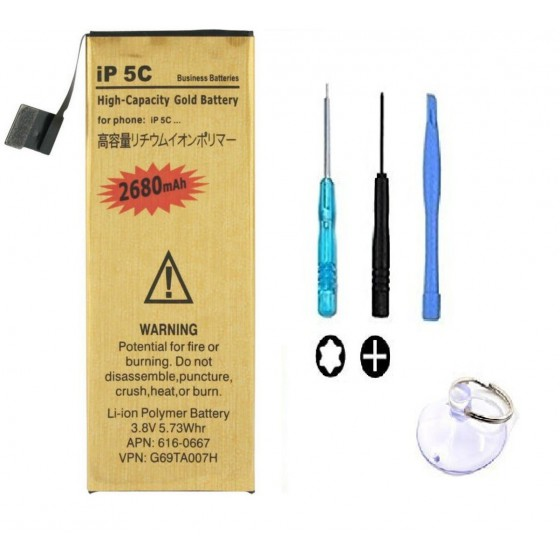 Batterie Gold Haute Capacité 2680mah + Outils - iPhone 5C