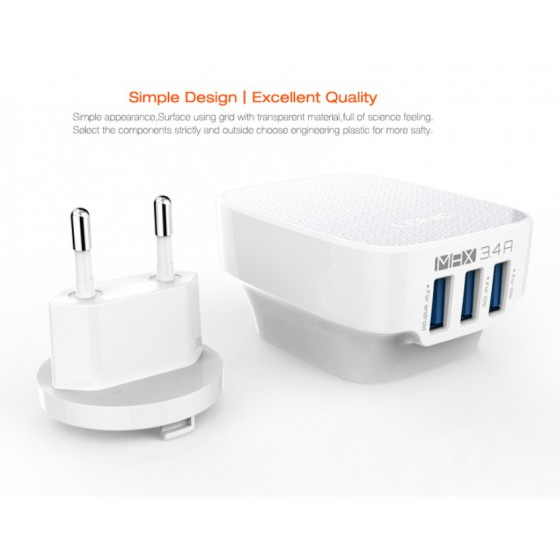 Prise Chargeur 3 port USB - 3.4 A - iPhone & Smatphone