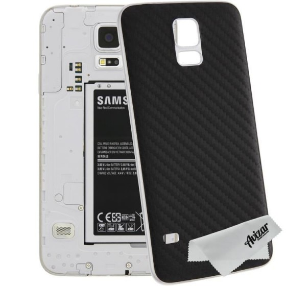Cache Batterie en Fibres de Carbone - Samsung Galaxy S5 - Noir