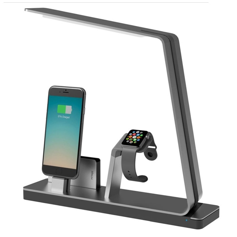 MiTagg NuDock Power Lamp Station d'accueil Gris- Apple Watch, iPhone 7/6/5