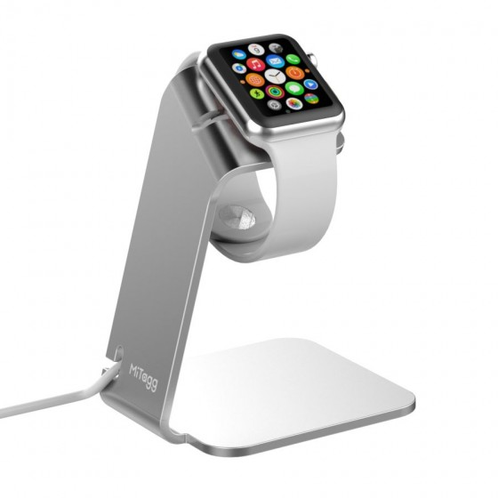 Support de bureau MiTagg NuStand en Allu Claire pour Apple Watch