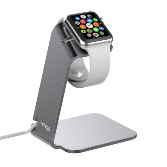 Support de bureau MiTagg NuStand en Allu Gris pour Apple Watch