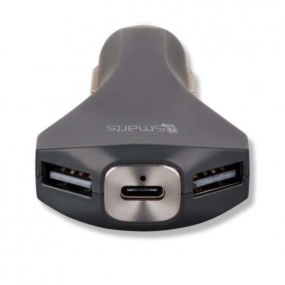 Chargeur de voiture rapide avec USB Type-A & Type-C - Noir