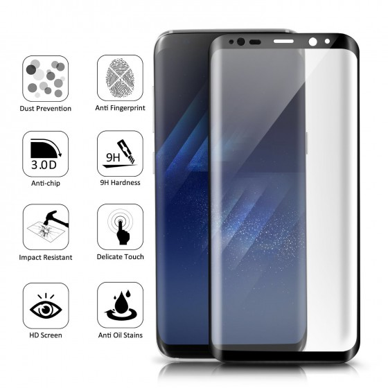 0.3mm 9H Tempered Glass Film with 3D Surface For Samsung Galaxy S8 - Black