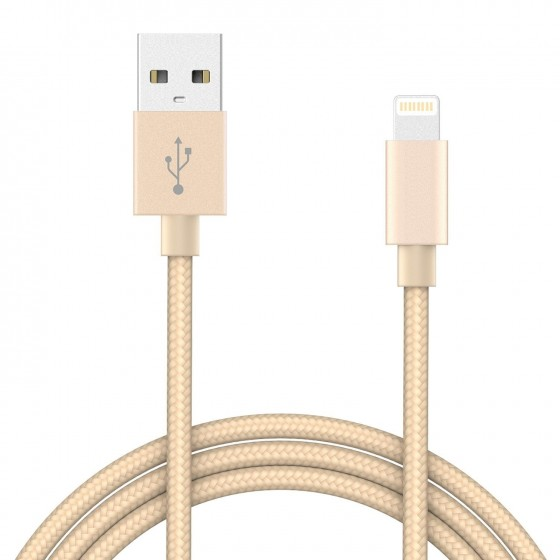 Câble USB Lightning 1m tressé incassable pour iPhone et iPad – Or