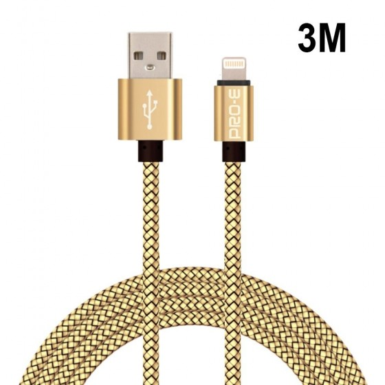 Câble USB Lightning 3m tressé incassable pour iPhone et iPad – Or