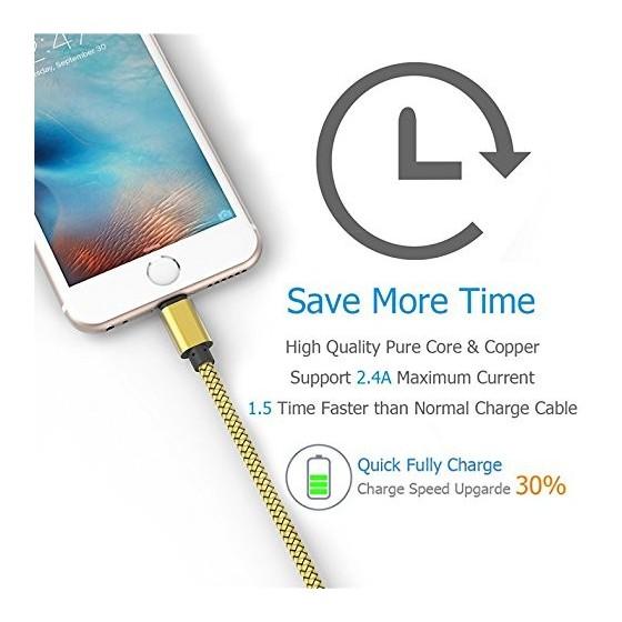 Câble USB Lightning 2m tressé incassable pour iPhone et iPad – Or