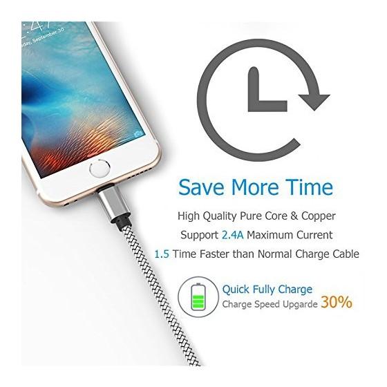 Câble USB Lightning 2m tressé incassable pour iPhone et iPad – Allu