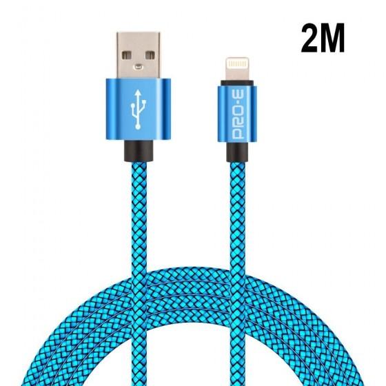 Câble USB Lightning 2m tressé incassable pour iPhone et iPad – Bleu