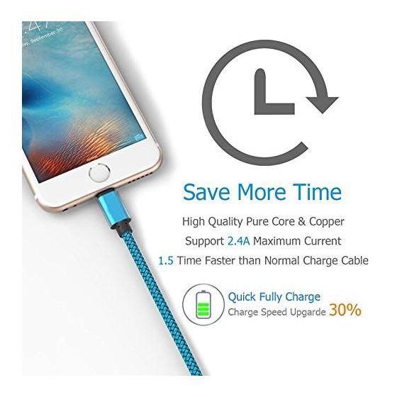 Câble USB Lightning 1m tressé incassable pour iPhone et iPad – Bleu
