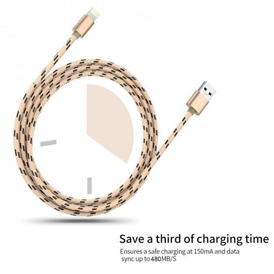 Câble USB Lightning 1m tressé incassable pour iPhone et iPad – Or