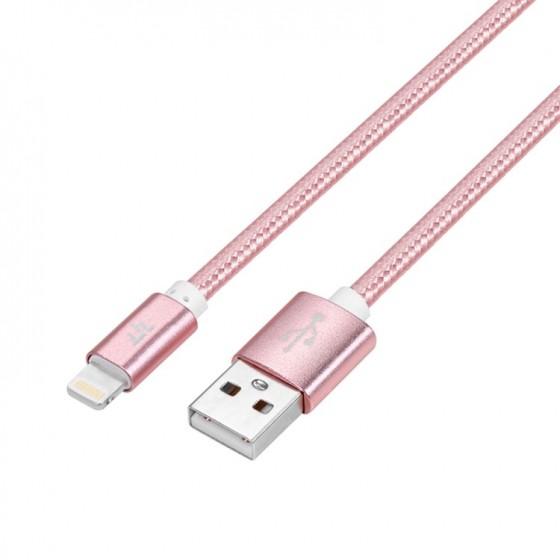 Câble USB Lightning 1m tressé incassable pour iPhone et iPad – Rose