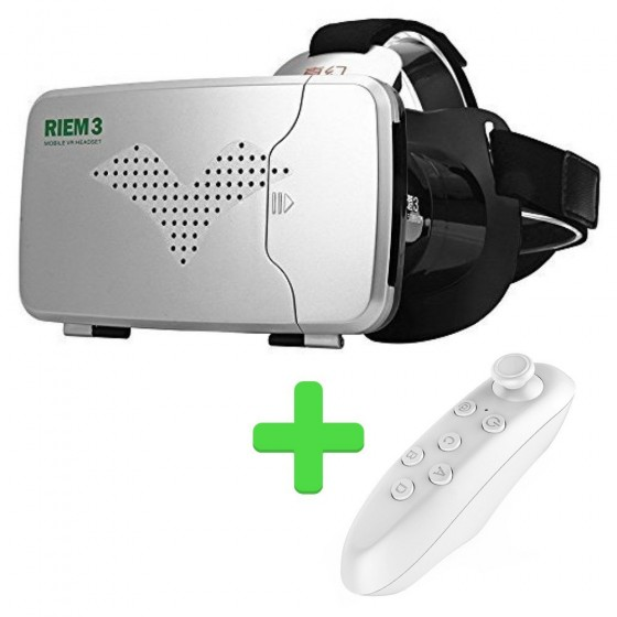 RITECH BELT 3 Casque de réalité virtuelle de 3.5 à 6.0 pouces avec télécommande- Blanc