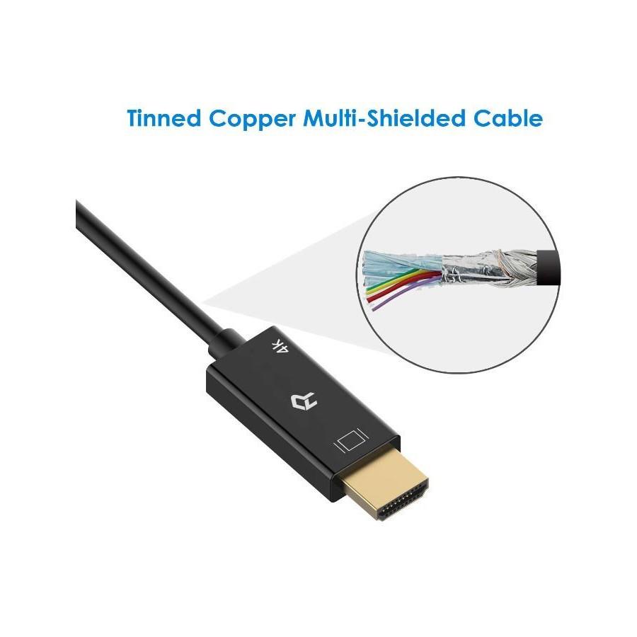 Rankie Câble DisplayPort vers HDMI, Résolution 4K, 1.80 m